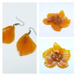 Parure Orchidée ambre