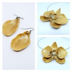 Parure Orchidée dorée