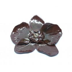 Broche Orchidée Chocolat