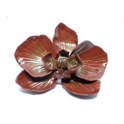 Broche Orchidée Marron  glacé